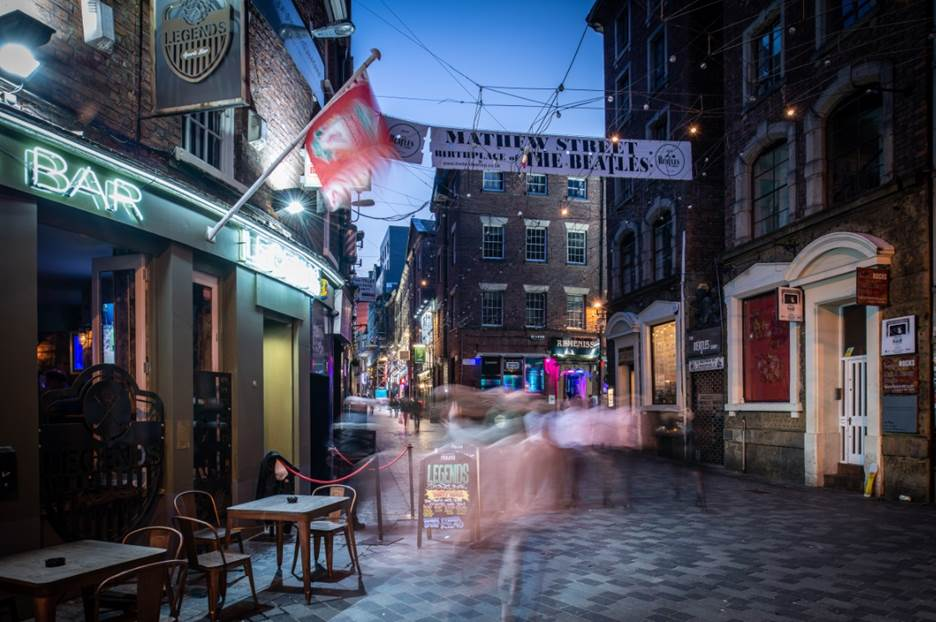Mathew Street of a night with venues lit up