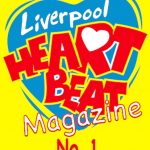 Liverpool Heartbeat magazine logo - a blue heart featuring red font saying the words heart beat on a yellow background