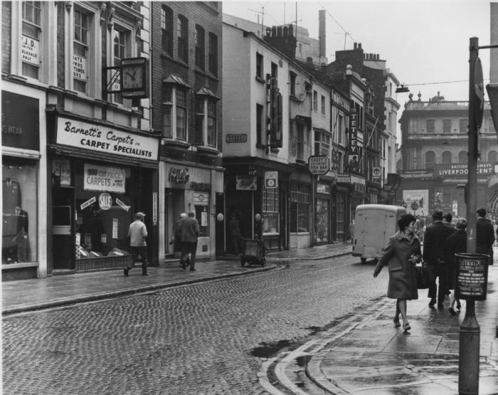 Cases Street in 1968 showing Egerton's, Casey's, The Sefton (now Cooper's) and The Globe public houses
