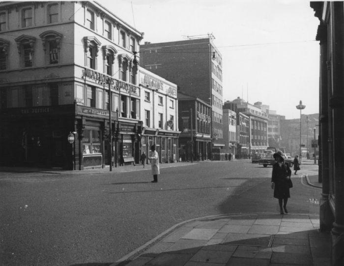 The Justice pub on the corner of Hatton Garden and Dale Street seen in 1965