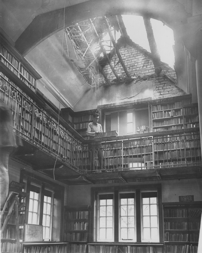 View of Sefton Park Library damaged by enemy action in September 1940-p2