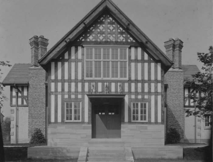 View of Sefton Park Library showing the front of the building from about 1911.