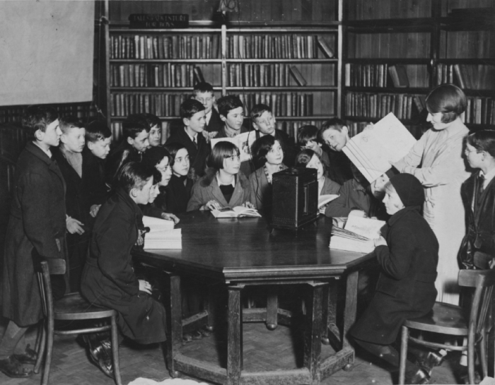 View of West Derby Library, showing a library story hour from about 1935.