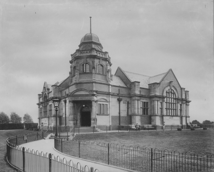 Early 20thcentury, view of West Derby Library, showing the entrance.
