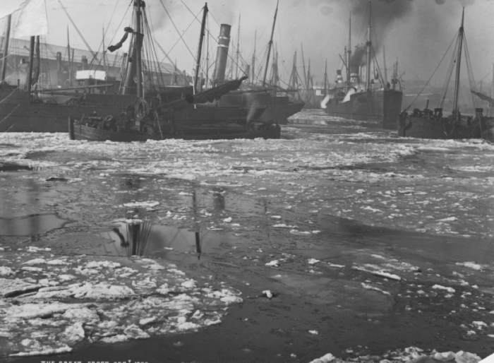 Garston Dock showing the great frost of 1895
