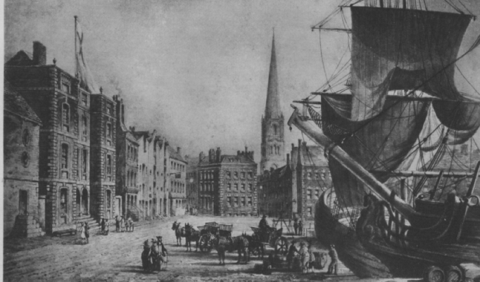 View of Old Dock showing Custom House 1721