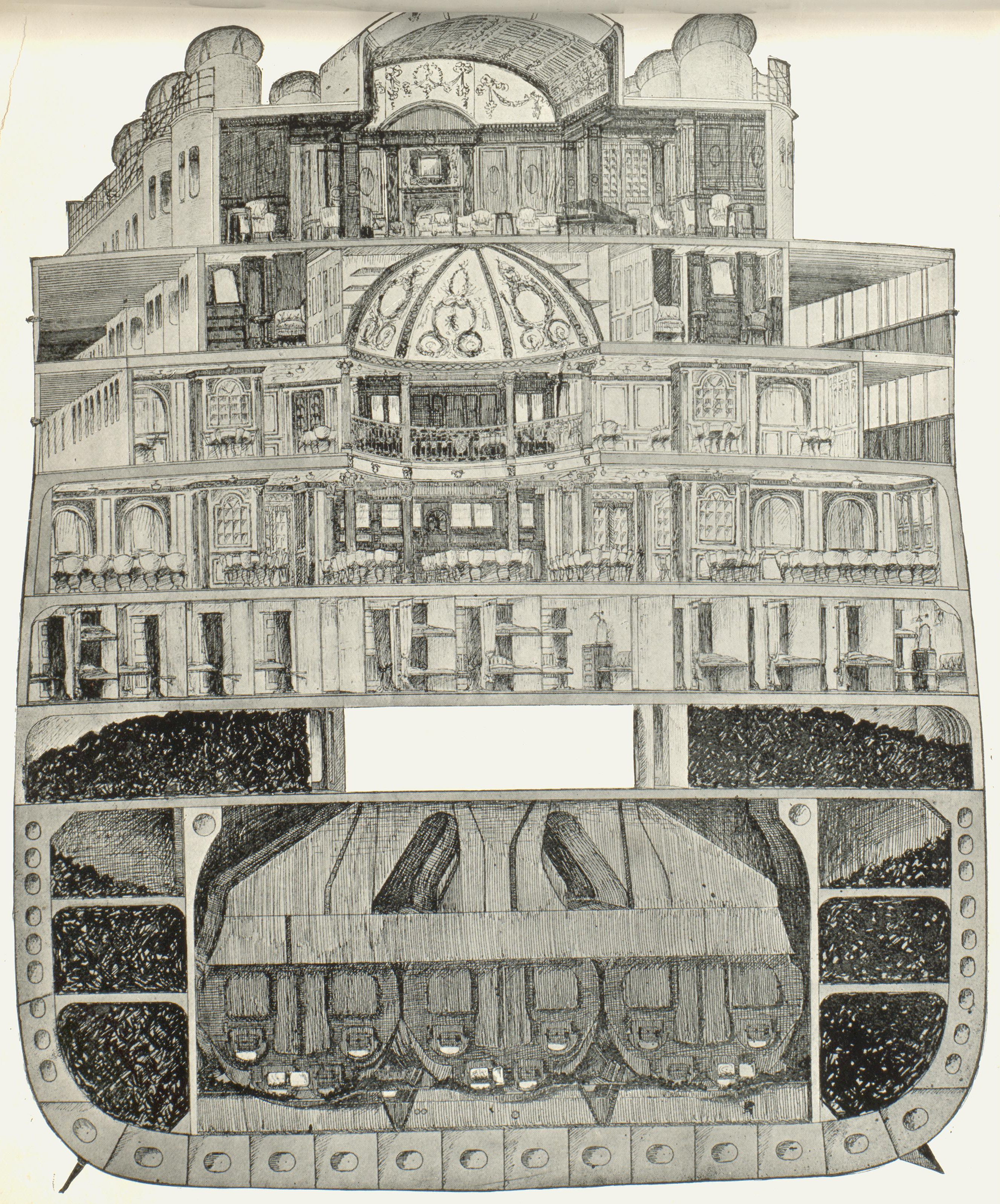 Cross section of ship