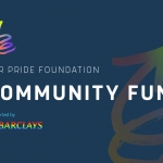 Community fund logo - a blue background with white wording saying COMMUNITY FUND and the barclays bank logo in rainbow colours
