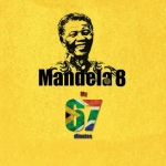 Black and white image of nelson mandela on a yellow background. Under the image is the number 67 with the south african flag colour scheme on the 67