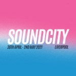 split box - top half is pink fading into a blue bottom half with white wording that says soundcity and underneath in black font says 30 april -2 may 2021, Liverpool