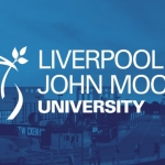 Blue square with the liver bird to the left outlined and the words LIVERPOOL JOHN MOORES UNIVERSITY in capitals in white wording next to it