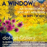 dot art poster promoting exhibit featuring flowers on a windowsill, dot art logo and title view from a window