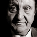 black and white image of ken dodd for doddy day