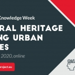 ROCK designed image with grey, red and white angular shapes with wording across saying cultural heritage leading urban futures