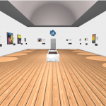 dot art virtual gallery showing images on white walls with a brown floor layout in front