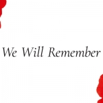 one poppy to the top left and one to the bottom right on a white background with the words we will remember in black in the middle