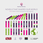 creative writing promotional artwork featuring rows of coloured books with a globe on the last row and the words NOVELS THAT SHAPED OUR WORLD on top