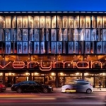 outside the everyman theatre at night with all lighting on