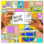 Dot art image of small icons of liverpool overlaid by hands holding a postcard which says wish you were here