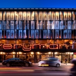 everyman theatre at night lit up in colour