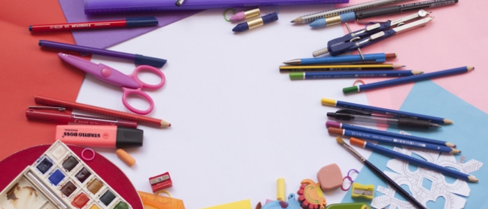 pens, pencils, erasers, scissors and paper