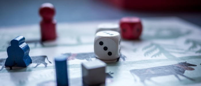 playing dice on a table