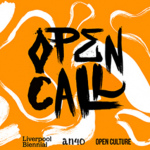 orange block with white swirls and the title OPEN CALL in black font