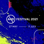 blue and yellow box with white text AND Festival 2021