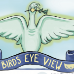 cartoon image of a liver bird looking at the viewer with a blue banner underneath saying BIRDS EYE VIEW