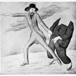 artwork - pencil drawing of a man pointing to the left looking back at a headless body