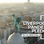 aerial view of liverpool from up close to the liver bird on top of the liver building; white overlay text says liverpool's pandemic pledge