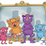 4 cartoon monsters stood in front of a mirror