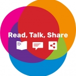 read talk share logo - a red, orange and blue overlapping circles