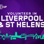 purple block with white overlay text saying volunteer in liverpool and st helens