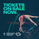 girl doing gymnastics in air with text saying tickets on sale now