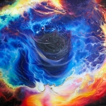 artistic piece featuring blue, orange, yellow, black and white swirling colours