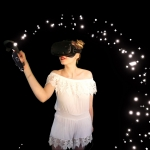 lady in white outfit with a black mask creating stars in an arch around her head with her finger