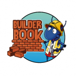cartoon illustration of ant cdressed in builders clothes next to a pile of bricks building the world builder book