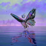 AND Festival artwork of an illustrated butterfly on the mersey with the liver buildign in distant background