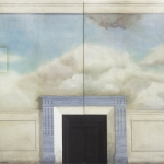 image by lucy mckenzie for tate liverpool feature on luxy mckenzie, featuring a wall with a fireplace and blue and white sky painted on it with clouds