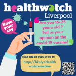 promotional poster im blue with a white hand to the left holding a syringe. copy asks people aged 16-25 years to tell them your opinion on the covid vaccine