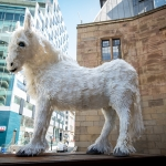 white artistic horse on the liverpool plinth