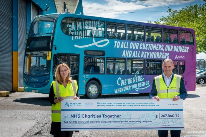 Arriva UK Bus and its passengers donate over £260,000 to NHS Charities Together Scheme