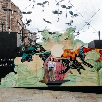 cowherd and weaver girl artwork in chinatown