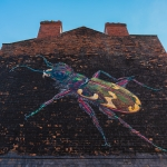 street art mural of a colourful beetle on the side of a wall