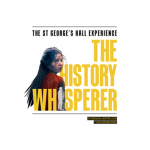 """image of little girl looking over shoulder with yellow copy noting """"the history whisperer"""""""
