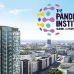 pandemic institute logo next to liverpool aerial photo