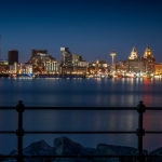 liverpool skyline at night viewed from the opposite ide of the mersey